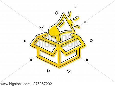 Advertisement Device Symbol. Megaphone Box Icon. Brand Ambassador Sign. Yellow Circles Pattern. Clas