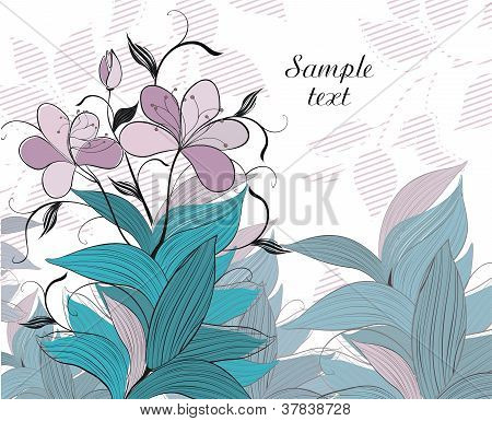 Background with flowers and dragonfly