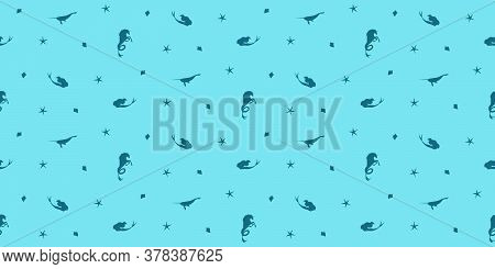 Vector Seamless Pattern With  Mermaids And Narwhals. Blue Fantastic Creatures Silhouette Illustratio