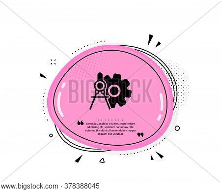 Cogwheel Dividers Icon. Quote Speech Bubble. Engineering Tool Sign. Cog Gear Symbol. Quotation Marks