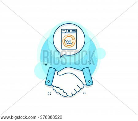 Washing Machine Sign. Handshake Deal Complex Icon. Laundry Line Icon. Hotel Service Symbol. Agreemen