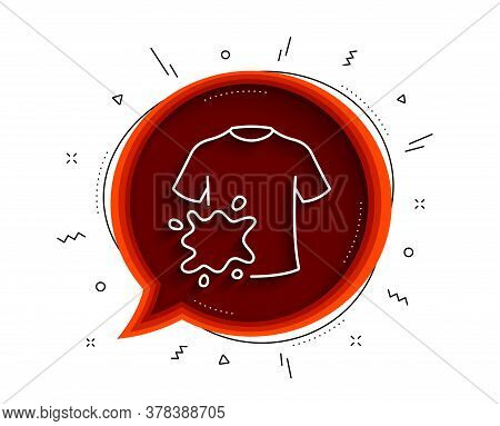 Dirty T-shirt Line Icon. Chat Bubble With Shadow. Laundry Shirt Sign. Clothing Cleaner Symbol. Thin