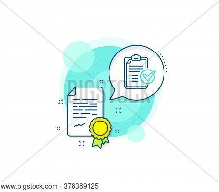Report Sign. Certification Complex Icon. Survey Checklist Line Icon. Business Review Symbol. Certifi