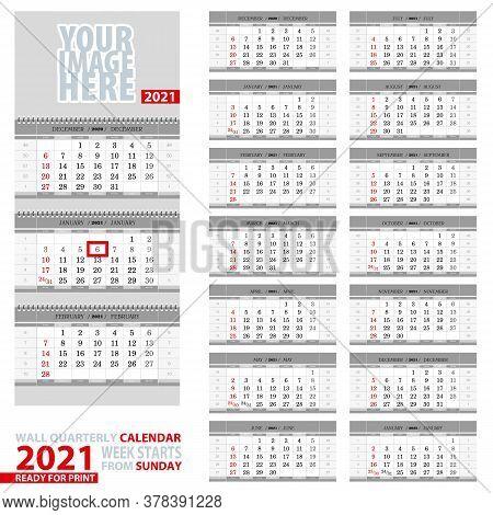 Wall Quarterly Calendar 2021. Week Start From Sunday, Ready For Print. Vector Illustration.