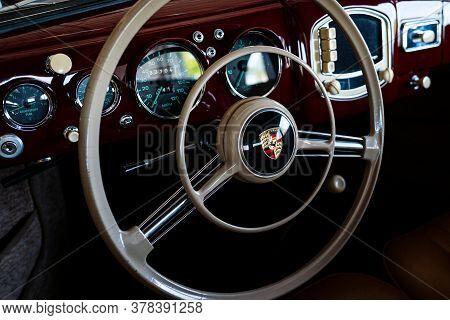 Miami, Florida, Usa - June 2020: Porsche Steering Wheel. Super Car. Beautiful Expensive Car. Horsepo