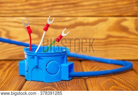 Electrical Junction Blue Box With Cable Wire Usually Used In The Electric Installation Process