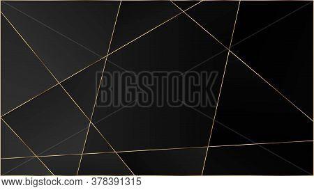Black Luxury Triangular Texture. Gold Lines Polygon Premium Poster. Elegant Dark Platinum Chic Shape