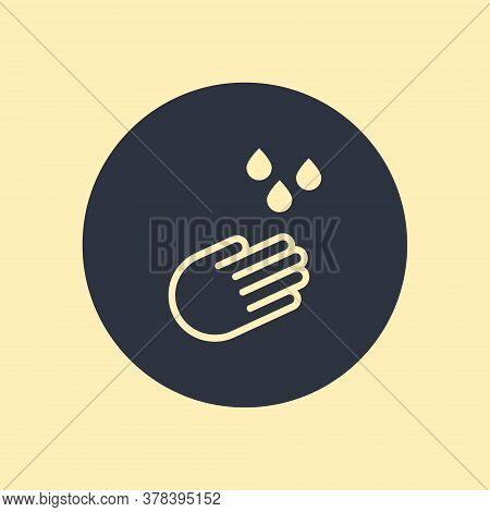 Drop Hand Water Icon In Flat Style On Round Background