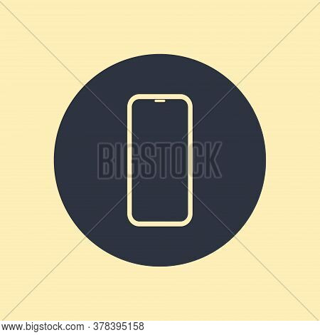 Mobile Phone Smartphone Icon In Flat Design On Round Background