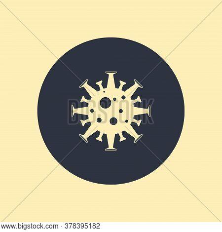 Medical Bacterium Flat Icon On Round Background