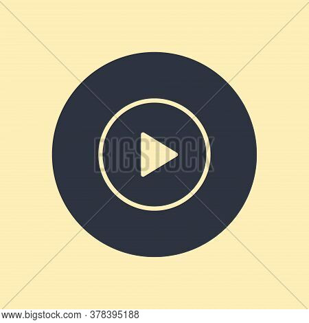 Play Icons. Vector Buttons In Falt Styyle On Round Background