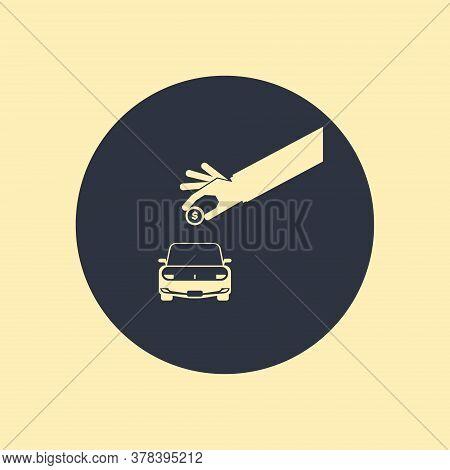 Car Shaped Piggy Bank. Vector Symbol On White Backgeound