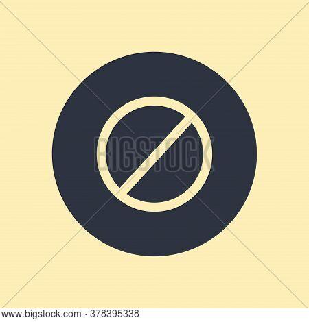 Stop Icon. Vector Symbol On Round Background