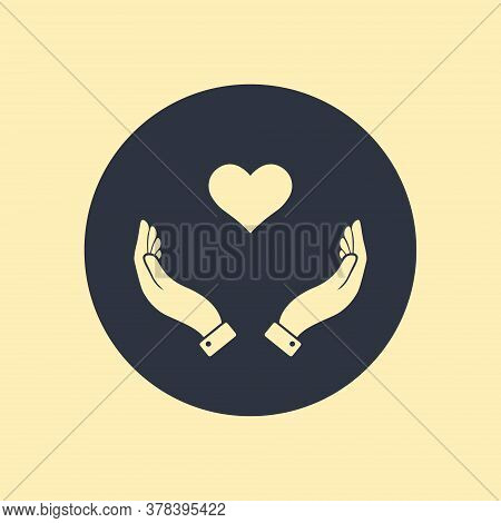 Healthcare Hands Holding Heart Flat Vector Icon For Apps And Website