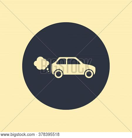 Car Icon. Vector Symbol Flat Icon On Round Background