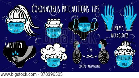 Coronavirus Precaution Tips. Protect Yourself And Others. Warning, Dangerous Infection. Stock Vector
