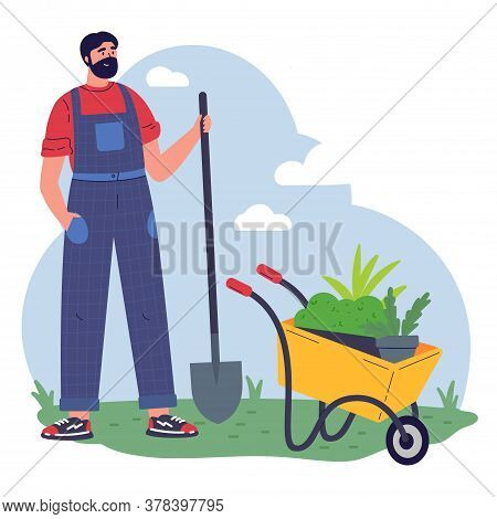 Man Gardener With Equipment And A Pot With Greenery Working Flat Vector Illustration.young Man With