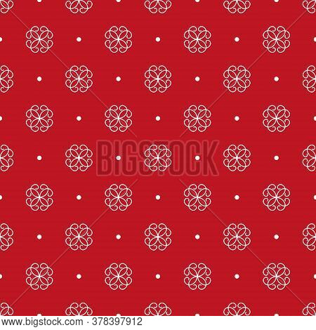 Stylized White Flowers And Spots. Seamless Pattern. Traditional Ornament On A Red Background