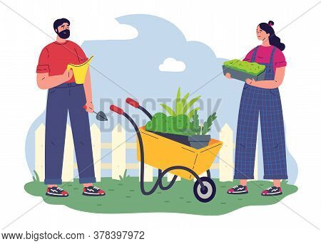 Couple Of Gardeners Working With Equipment And A Pot With Greenery.flat Vector Illustration.young Wo