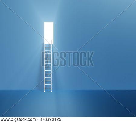 Doorway up high with ladder. 3D rendering
