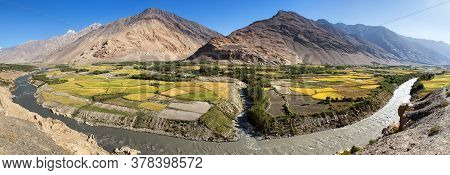 Fields Around Panj River, Gorno-badakhshan, Tajikistan And Afghanistan Border, Wakhan Corridor, Hind