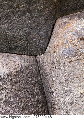 Detail Of Stone Wall In Cusco Or Cuzco Town, Historic Incan Architecture, Peru