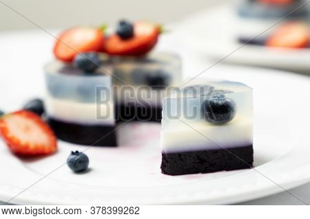 Mini Blueberry Fruit Agar Agar Or Jelly Cake Decorated With Strawberry