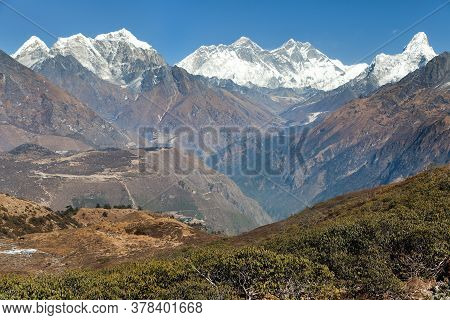 Panoramic View Of Mount Everest, Lhotse And Ama Dablam From Kongde Village - Sagarmatha National Par