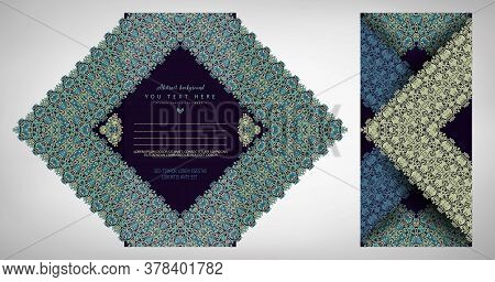 Vector Abstract Ornamental Nature Folded And Unfolded Postcard