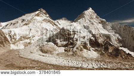 Old Sepia Colored View Of Mount Everest, Nuptse And Lhotse From Pumori Base Camp. Made As Old Photog