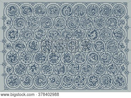 Vector Abstract Floral Round Braided Elements Illustration