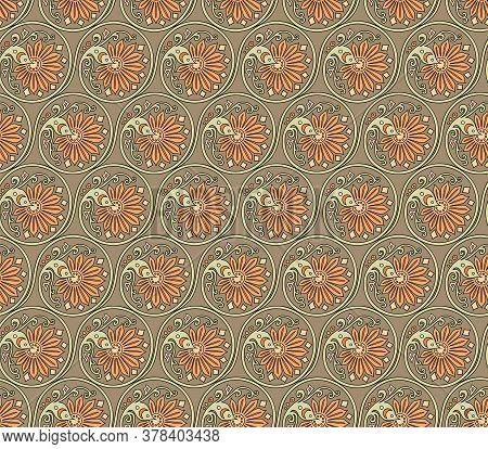 Vector Abstract Floral Braided Elements Seamless Pattern