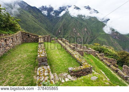 Choquequirao, One Of The Best Inca Ruins In Peru. Choquequirao Inca Trekking Trail Near Machu Picchu