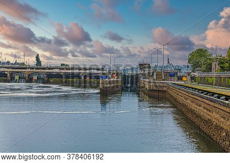 Small Side Of Ballord Locks Between Lake Union And Puget Sound