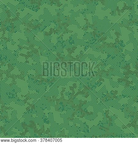 Khaki Repeated Doted Camouflage, Graphic Art.  Seamless Vector Brown Military, Camo Camo. Green Repe