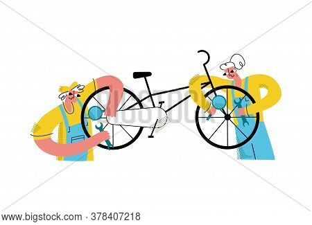 Vector Flat Workers Performing Diagnostics With Magnifying Glass, Repairing Bicycle With Wrench. Con