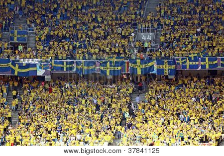 Sweden Fans At Nsc Stadium During Their Uefa Euro 2012 Game Against England
