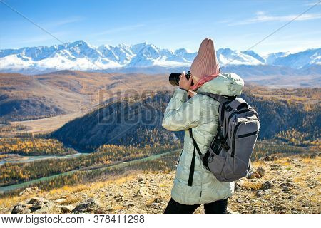 Travel Tourist Woman Photographer Taking Pictures With Video Or Photo Camera Of Nature Landscape In
