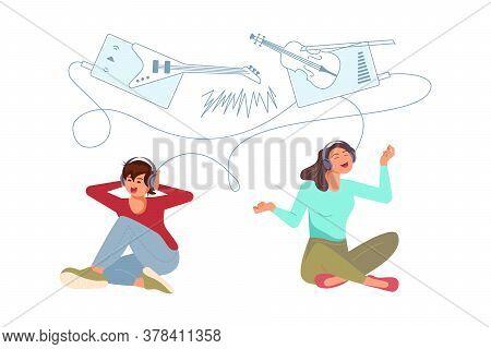 Joyful Girl And Boy Teenagers Wearing Earphones And Headphones, Listening To Music. Happy Young Peop