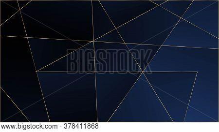Blue Luxury Polygon Texture. Gold Lines Triangular Premium Poster. Silver Rich Vip Geometric Celebra