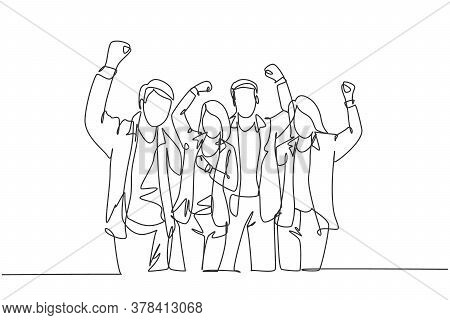 Single Continuous Line Drawing Of Young Happy Company Founder Prancing With Joy At The Investor Offi