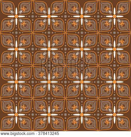 Unique Flower Design On Javanese Batik With Simple White Brown Color Design.