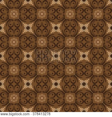 Kawung Batik Motifs With Very Distinctive Flower Patterns And Brown Color Design.