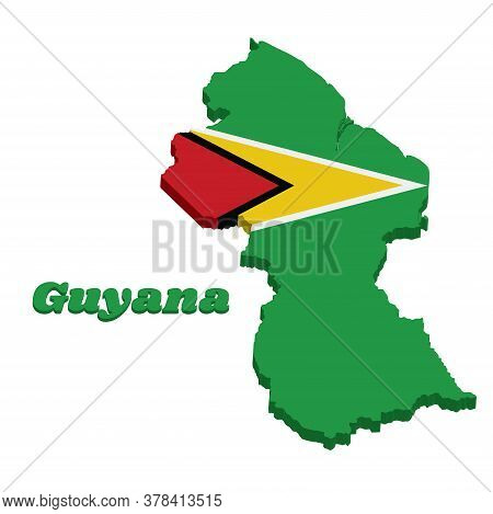 3d Map Outline Of Guyana, A Green Field With The Black Red Triangle And White Golden Triangle, Also