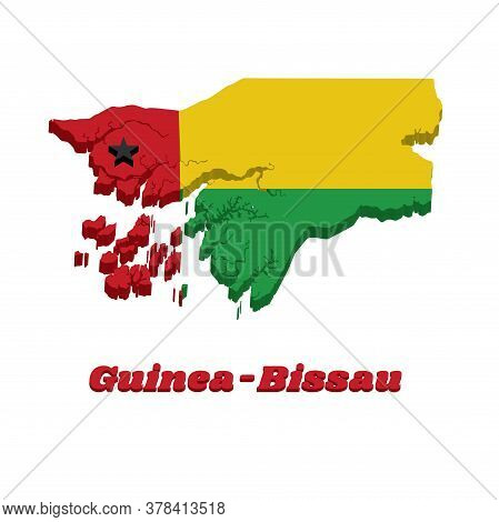 3d Map Outline And Flag Of Guinea Bissau, One Vertical Red Line On The Hoist Side Charged With A Bla