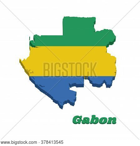 3d Map Outline And Flag Of Gabon, A Horizontal Triband Of Green, Gold And Blue. With Name Text Gabon