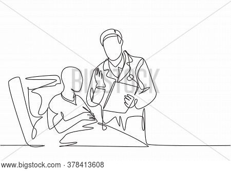 One Single Line Drawing Of Young Male Doctor Discuss Positive Health Progress With Old Cancer Patien