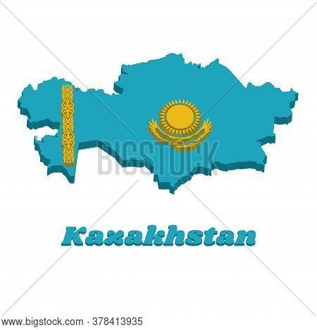 3d Map Outline And Flag Of Kazakhstan, A Gold Sun Above Eagle On Blue Field. The Hoist Side Displays