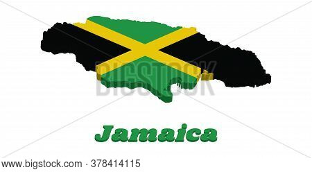 3d Map Outline And Flag Of Jamaica, A Gold Diagonal Cross Divides The Field Into Four Triangles Of G