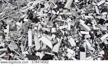 Pile Of Aluminium Frames Residue In A Furniture Workshop For Recycling